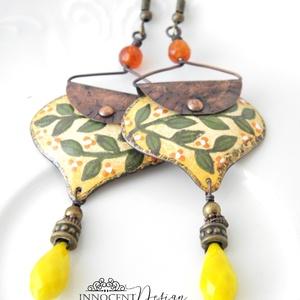 InBloom - tűzzománc fülbevaló (virágos sárga) (InnocentDesign) - Meska.hu