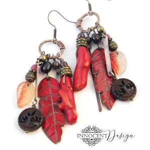 """Tribal - Tollas tűzzománc fülbevaló, Ékszer, Fülbevaló, Ékszerkészítés, Tűzzománc, Extra hosszú ún. \""""tribal\"""" (törzsi) jellegű \""""tollas\"""" fülbevaló 100%-ban saját kezemmel készült :)\nVör..., Meska"""
