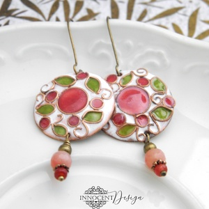Cseresznyevirágzás - tűzzománc fülbevaló  (rózsaszín-zöld-fehér), Esküvő, Ékszer, Fülbevaló, Rekeszzománcolt, könnyű, mutatós tűzzománc fülbevaló. Kézzel kivágott, domborított rézlemezalapra ké..., Meska