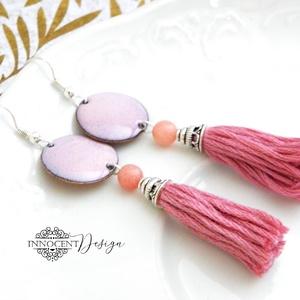 colorBlocking - bojtos tűzzománc fülbevaló (rózsaszín), Rojtos fülbevaló, Fülbevaló, Ékszer, Ékszerkészítés, Tűzzománc, Zománcozott vörösrézalap és osztott hímzőfonalból készült bojt. A kettő között egy rodokrozit kő van..., Meska