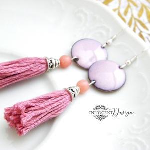 colorBlocking - bojtos tűzzománc fülbevaló (rózsaszín) (InnocentDesign) - Meska.hu