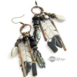 """Tribal - Tollas tűzzománc fülbevaló, Csillár fülbevaló, Fülbevaló, Ékszer, Ékszerkészítés, Tűzzománc, Extra hosszú ún. \""""tribal\"""" (törzsi) jellegű \""""tollas\"""" fülbevaló 100%-ban saját kezemmel készült :)\nVör..., Meska"""