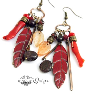 """Tribal - Tollas tűzzománc fülbevaló, Ékszer, Fülbevaló, Csillár fülbevaló, Ékszerkészítés, Tűzzománc, Extra hosszú ún. \""""tribal\"""" (törzsi) jellegű \""""tollas\"""" fülbevaló 100%-ban saját kezemmel készült :)\nVör..., Meska"""