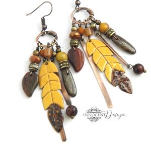Tribal - Tollas tűzzománc fülbevaló, Ékszer, Fülbevaló, Csillár fülbevaló, Ékszerkészítés, Tűzzománc, Meska