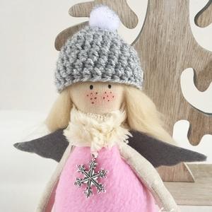 AKCIÓ! - Tél angyal - rózsaszín - szőke haj, Karácsony & Mikulás, Varrás, Készleten lévő, azonnal rendelkezésre álló termék (a fotón az adásvétel tárgyát képező konkrét darab..., Meska
