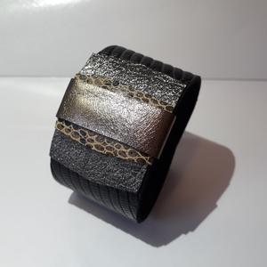 Ezüst, fekete színű bőrkarkötő - Meska.hu
