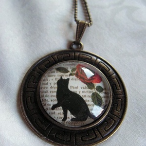 ÜVEGLENCSÉS ÉKSZEREK-KIÁRUSÍTÁS-Vintage nyaklánc -fekete macskás - Meska.hu