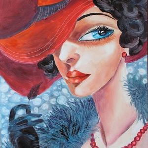 PIROS KALAPBAN- olajfestmény ART DECO, Olajfestmény, Festmény, Művészet, Festészet, Technika:olaj-fa\nMéret:30x35cm\n\nKERET NÉLKÜL ELADÓ!!!\n, Meska