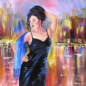 AZ ÉJSZAKA VARÁZSA- olajfestmény, Olajfestmény, Festmény, Művészet, Festészet, Technika:olaj-fa\nMéret:30x30cm\nIMPRESSZIONISTA stílusban festett kép.\nKERET NÉLKÜL ELADÓ!!!\nA képeke..., Meska