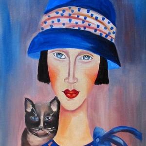 GEORGINA és a macska- olajfestmény (irisz3) - Meska.hu