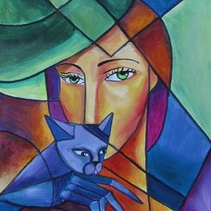 Lila macska- ABSZTRAKT olajfestmény, Otthon & lakás, Képzőművészet, Festmény, Olajfestmény, Festészet, Technika:olaj-kasírozott vászon\nMéret:30x40cm\nABSZTRAKTstílusban festett kép.\nKERET NÉLKÜL ELADÓ!!!\n..., Meska