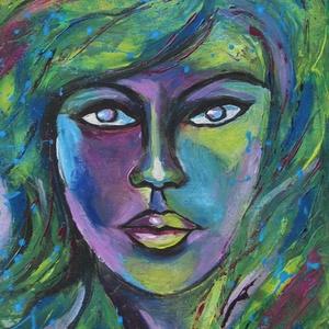 ZÖLD PORTRÉ- ABSZTRAKT olajfestmény, Otthon & lakás, Képzőművészet, Festmény, Olajfestmény, Festészet, Technika:olaj-feszített vászon\nMéret:30x40cm\nABSZTRAKT stílusban festett kép.\nA festményhez KERET NE..., Meska