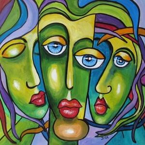 ZÖLD ARCOK-kubista festmény, Képzőművészet, Otthon & lakás, Festmény, Olajfestmény, Festészet, Technika: akril -fa lapon\nMéret:40x40cm\nKUBISTA festmény gyönyörű színekkel.\nKERET NÉLKÜL ELADÓ!..., Meska
