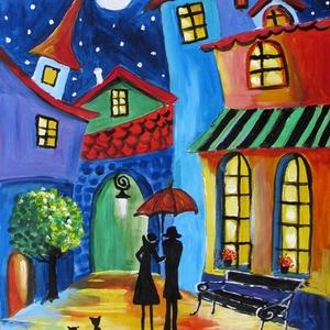ÉJFÉLI RANDEVÚ- festmény art deco, Otthon & lakás, Képzőművészet, Festmény, Olajfestmény, Festészet, Technika:olaj-fa\nMéret:43x32cm\n\nKERET NÉLKÜL ELADÓ!!!\nA képeken a keretek virtuálisak., Meska