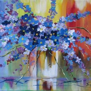 LILA VIRÁGOK- festmény modern, Otthon & lakás, Képzőművészet, Festmény, Olajfestmény, Festészet, Technika:olaj-feszített vászon\nMéret:40x30cm\n\nA festményhez keret nem szükséges-az oldalak festettek..., Meska