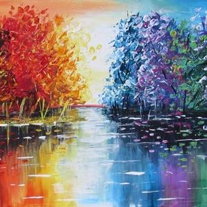 ESTI FÉNYEK- ABSZTRAKT festmény, Művészet, Festmény, Olajfestmény, Festészet, Technika: akril-fa\nMéret:40x30cm\nABSZTRAKT festmény.\nKERET NÉLKÜL ELADÓ!!!\nA képeken a keretek virtu..., Meska