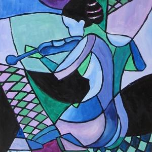 AKT- KUBISTA festmény, Művészet, Festmény, Olajfestmény, Festészet, Technika: akril-fa\nMéret:42x31cm\nKUBISTA festmény.\nKERET NÉLKÜL ELADÓ!!!\nA képeken a keretek virtuál..., Meska