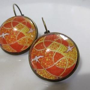 AKCIÓ!!! Vintage fülbevaló -Narancs, Ékszer, Nyaklánc, Medálos nyaklánc, Ékszerkészítés, Mutatós üveglencsés ékszer. A lencse mérete:20mm Francia kapoccsal.  , Meska