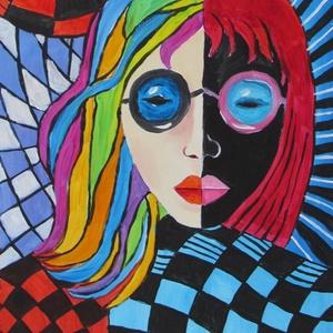 LIZA SZÍNES VILÁGA- KUBISTA festmény, Művészet, Festmény, Olajfestmény, Festészet, Technika: akril-fa lap\nMéret:40x30cm\nKUBISTA stílusban festett alkotás.\nKERET NÉLKÜL ELADÓ!!!\nA képe..., Meska