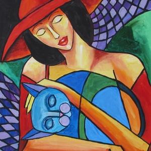 KEDVENC- KUBISTA festmény, Művészet, Festmény, Olajfestmény, Festészet, Technika: akril-fa\nMéret:40x30cm\nKUBISTA festmény.\nKERET NÉLKÜL ELADÓ!!!\nA képeken a keretek virtuál..., Meska