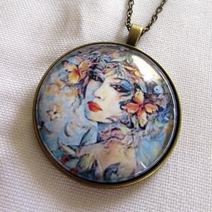 Vintage-üveglencsés nyaklánc ÚJ KOLLEKCIÓ, Ékszer, Nyaklánc, Medálos nyaklánc, Ékszerkészítés, Meska