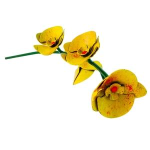 Fém orchidea talp nélkül (sárga) , Dekoráció, Otthon & lakás, Dísz, Szerelmeseknek, Ünnepi dekoráció, Lakberendezés, Fémmegmunkálás, Talp nélküli orchidea (sárga). Kézzel készült ámde gépek segítségével mint pl a hegesztő, és a köszo..., Meska