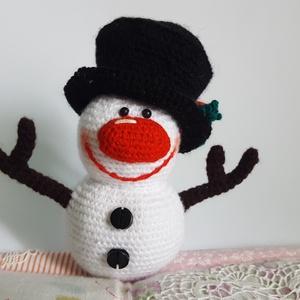 Hóember, Otthon & lakás, Gyerek & játék, Karácsony, Dekoráció, Ünnepi dekoráció, Karácsonyi dekoráció, Horgolás, 14 cm magas és akril fonalból készült., Meska