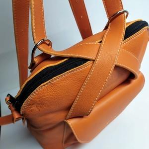 Háti/váll táska világos narancssárgából, Táska, Divat & Szépség, Táska, Hátizsák, Válltáska, oldaltáska, Bőrművesség, Olyan táska, amit ha akarom válltáskaként, ha a karom hátitáskaként használhatok. Csak egy mozdulat ..., Meska