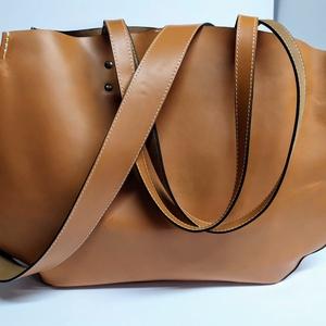 Mindentbele táska homokszín, Táska, Divat & Szépség, Táska, Szatyor, Bőrművesség, A táska nagyméretű. igazi bevásárló, kapkodó.\nNincs bélelve, mágneszárral záródik: egyszerűen nagysz..., Meska