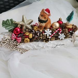 Karácsonyi asztaldísz dekoráció , Otthon & Lakás, Karácsony & Mikulás, Karácsonyi dekoráció, Mindenmás, Egy kis ízelítő a mi kis mesevilágunkból. \nCicusokról sem feledkeztünk meg! \n30 centis alapon készül..., Meska
