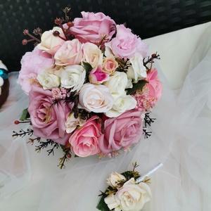 Menyasszonyi csokor Örök csokor , Esküvő, Menyasszonyi- és dobócsokor, Menyasszonyi- és dobócsokor, Virágkötés, Készletről vihető menyasszonyi csokor, hozzá illő kitűzővel.\nKizárólag minőségi virágokkal dolgozunk..., Meska