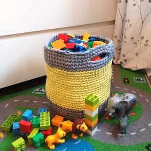 Citrom horgolt játéktároló kosár, Gyerek & játék, Gyerekszoba, Tárolóeszköz - gyerekszobába, Horgolás, Az első plüss játékkal kezdődik... Aztán jönnek a csörgők és a rágókák. Mikor már Babád ülve játszik..., Meska