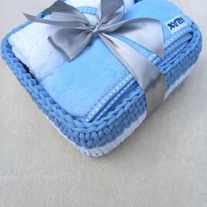Babalátogató ajándékcsomag horgolt kosárban - Szürke/Kék, Játék & Gyerek, Babalátogató ajándékcsomag, Horgolás, Varrás, Meska