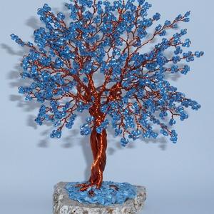 Tengerkék nagy életfa, Dísztárgy, Dekoráció, Otthon & Lakás, Gyöngyfűzés, gyöngyhímzés, Nagyon szeretem a kék színt. Tulajdonképpen a kék szín az önkifejezésünk színe is, ami kapcsolódik a..., Meska