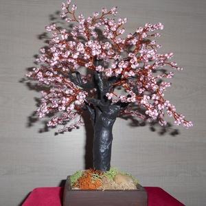 Rozalinda bonsai gyönygfa, Dísztárgy, Dekoráció, Otthon & Lakás, Gyöngyfűzés, gyöngyhímzés, A fa magassága 26-cm és 4 mm-es kásagyönggyel készült. A gyöngy érdekessége, hogy festett közepű vil..., Meska