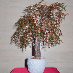 Fűzfa fehér virágokkal, Otthon & Lakás, Dísztárgy, Dekoráció, Gyöngyfűzés, gyöngyhímzés, Meska