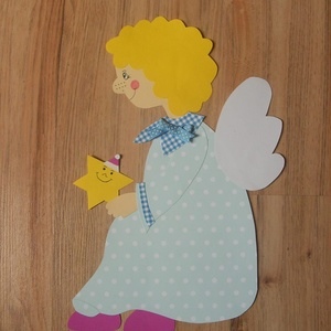 Angyalka csillaggal a kezében , Gyerek & játék, Dekoráció, Otthon & lakás, Lakberendezés, Falikép, Papírművészet, Karton dekoráció, Meska