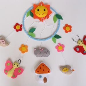 Pillangós-madárkás-virágos-cicás-házikós-napocskás színes babaforgó/ függő dísz (Rendelhető!), Kiságyforgó, 3 éves kor alattiaknak, Játék & Gyerek, Varrás, Mindenmás, Bájos, vidám gyermekforgó színes pillangókkal, madárkákkal,virágokkal, házikóval, alvó masnis kiscic..., Meska