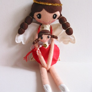 Nina és kis angyalkája, Gyerek & játék, Játék, Baba, babaház, Plüssállat, rongyjáték, Baba-és bábkészítés, Mindenmás, 36 cm magas, egyedi tervezésű, kézzel varrt, kedves angyalka textilbaba.Kézzel készült szív alakú ta..., Meska