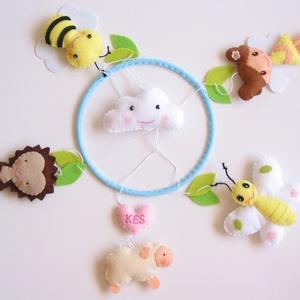 Pillangós-tündérkés-tulipános-baglyos-sünis-napocskás színes babaforgó/ függő dísz gyerekszobába, Játék & Gyerek, 3 éves kor alattiaknak, Kiságyforgó, Varrás, Mindenmás, Bájos, vidám gyermekforgó  pillangóval,méhecskével, tündérkével, sünivel, barival, monogramos szívec..., Meska