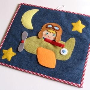 Repülős- pilótás-csillagos-holdas textilkép (Azonnal vihető) - játék & gyerek - babalátogató ajándékcsomag - Meska.hu