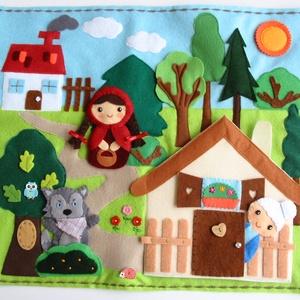 Piroska és a farkas ujjbábkészlet mini bábszínházzal-AZONNAL VIHETŐ!, Gyerek & játék, Játék, Báb, Baba-és bábkészítés, Saját tervezésű ujjbábkészlet A Piroska és a farkas c. meséhez. A bábok (Piroska, nagymama, vadász, ..., Meska