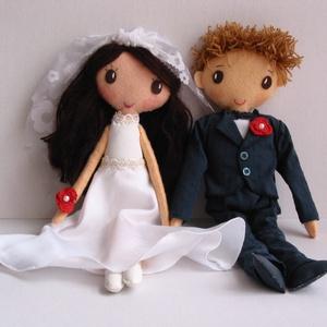 Esküvői pár- egyedi  textilbabák (Rendelhetők!), Esküvő, Dekoráció, Varrás, Meska