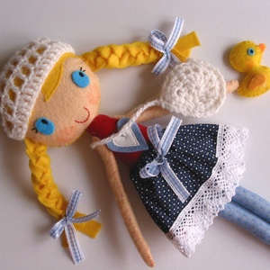 Mia- öltöztethető  textilbaba kiskacsával és kiegészítőkkel (azonnal vihető!) - játék & gyerek - baba & babaház - öltöztethető baba - Meska.hu