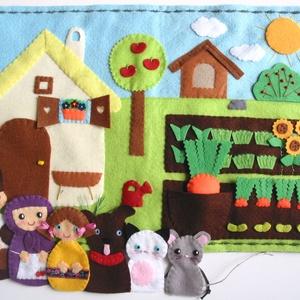 Répamese- interaktív ujjbáb készlet játszópaddal (Rendelhető!), Gyerek & játék, Játék, Készségfejlesztő játék, Báb, Varrás, Saját tervezésű ujjbábkészlet egy bájos kis történethez, a Répameséhez.\n\nA bábok (apóka,anyóka,unoka..., Meska
