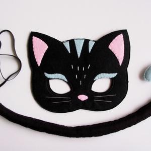 Fekete macska farsangi jelmez szett-AZONNAL VIHETŐ!, Otthon & lakás, Dekoráció, Ünnepi dekoráció, Farsang, Gyerek & játék, Játék, Varrás, Egyedi tervezésű, filc anyagból készült, aprólékos és gondos munkával ez a fekete cica álarc és a ho..., Meska