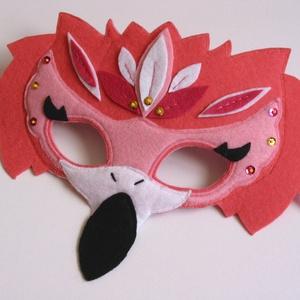 Flamingó álarc- RENDELHETŐ!, Álarc, Jelmez & Álarc, Ruha & Divat, Varrás, Egyedi tervezésű, filc anyagból készült, aprólékos és gondos munkával ez a különleges flamingó álarc..., Meska