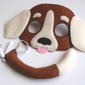 Tarka kutya farsangi jelmez szett-AZONNAL VIHETŐ!!, Ruha & Divat, Jelmez & Álarc, Varrás, Egyedi tervezésű, filc anyagból készült, aprólékos és gondos munkával ez a tarka kutya álarc és a ho..., Meska