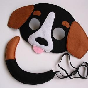 Tarka kutya farsangi jelmez szett- RENDELHETŐ!!!, Játék & Gyerek, Szerepjáték, Varrás, Egyedi tervezésű, filc anyagból készült, aprólékos és gondos munkával ez a tarka kutya álarc és a ho..., Meska