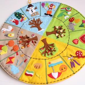 ÉVSZAKKÖR - rendelhető!, Játék & Gyerek, Készségfejlesztő & Logikai játék, Varrás, Saját, egyedi tervezésű minta alapján készült vidám, színes évszakkör. Az évszakkörön az ovisok nyel..., Meska